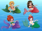 foto of mermaid  - 4 Beautiful Mermaid Sitting on Blue Background - JPG