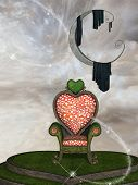 stock photo of throne  - Fantasy landscape with big moon and throne - JPG