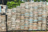 stock photo of scaffold  - Stack of metal platform use for scaffolding in construction site - JPG