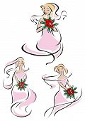 image of flowing hair  - Pretty pink feminine doodle sketches of a bride holding a bouquet of red roses in three different positions with her gown and hair flowing - JPG