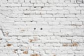 picture of brick block  - Old brick wall painted with white paint - JPG