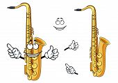 foto of saxophones  - Side view of a happy cartoon saxophone instrument character with a grinning face and waving arms - JPG
