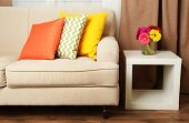 image of comfort  - Modern interior with comfortable sofa in room - JPG