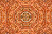 stock photo of kaleidoscope  - Brick wall kaleidoscopic pattern background for design - JPG