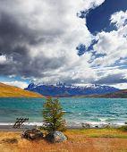 image of snow capped mountains  -  Thundercloud closes the sky - JPG