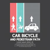 picture of pedestrians  - Car Bicycle and Pedestrian Path Vector Illustration - JPG