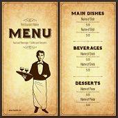 foto of waiter  - Retro restaurant menu design with the silhouette of a waiter - JPG