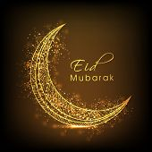 image of eid al adha  - Golden floral design decorated moon on shiny brown background for Muslim community festival - JPG