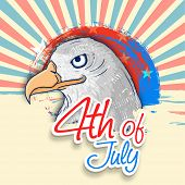 pic of nationalism  - American national bird eagle on national flag colors rays background for 4th of July - JPG