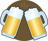 foto of beer mug  - two full foaming beer steins clinking together - JPG