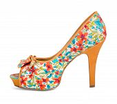 picture of shoes colorful  - colorful shoes with floral print on a white background - JPG