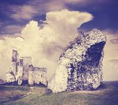 image of incredible  - Vintage filtered incredible rock formation and ruins Mirow in Poland - JPG