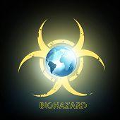 picture of biohazard symbol  - biohazard symbol and planet earth - JPG