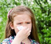 image of allergies  - Little girl has allergy to spring blossoming and blowing her nose outdoor - JPG
