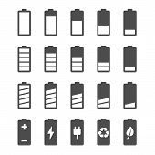 foto of indications  - Battery vector icon set with charge level indicators - JPG