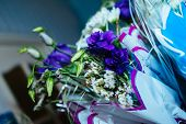 image of wedding table decor  - Beautiful flowers on table in wedding day. wedding table flower decoration ** Note: Shallow depth of field - JPG