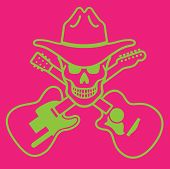 picture of skull cross bones  - Skull with cowboy hat and crossed guitars - JPG