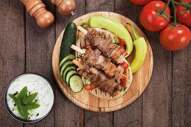 picture of souvlaki  - Souvlaki or kebab - JPG