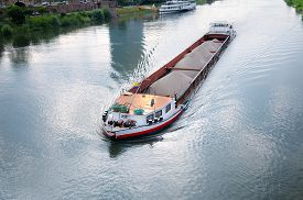 picture of barge  - A  big barge with cargo on river - JPG