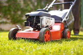 foto of grass-cutter  - Man cut grass with lawnmower at backyard closeup outdoor works  - JPG