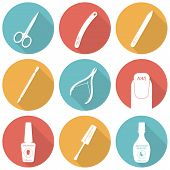 Set of flat icons of tools and accessories for nail care - manic poster
