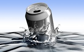 stock photo of polution  - soda can throwed into the water making polution - JPG