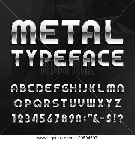 Metal Alphabet Vector Font Type Letters Numbers And Symbols Poster