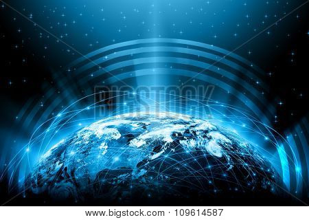 Best Internet Concept. Globe, glowing lines on technological background. Electronics, Wi-Fi, rays, s