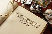 Постер, плакат: Book with diagnosis Chronic obstructive pulmonary disease COPD Medic concept
