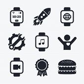 Постер, плакат: Smart watch icons Wrist digital time clock