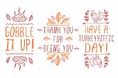 Hand-sketched typographic elements for thanksgiving design poster
