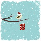 stock photo of christmas-present  - Winter card with cute bird and gift box - JPG