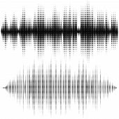 Halftone Vector Elements. Vector Sound Waves. Music Waveform Background. You Can Use In Club, Radio, poster