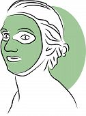 foto of mud pack  - woman with facial scrub - JPG