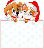 stock photo of droopy  - Christmas Cat and dog holding sign  - JPG