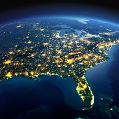 Detailed Earth. North America. Usa. Gulf Of Mexico And Florida On A Moonlit Night poster