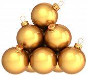 Постер, плакат: Роскошный Золотой Рождество Мячи Фенечки