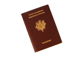 stock photo of passport template  - a french passport isolated on white background - JPG