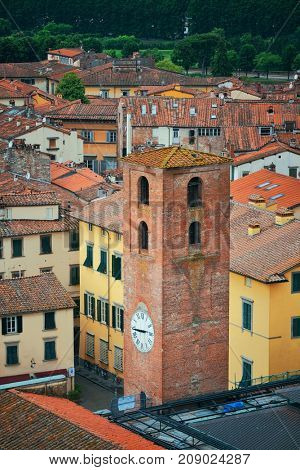 poster of Lucca clock tower viewed from above in Italy.