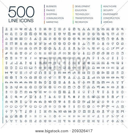 poster of Vector illustration of 500 thin line business icons. Finance, shopping, communication technology, market, app develop, education, transport, healthcare, environment and security. Flat symbols set