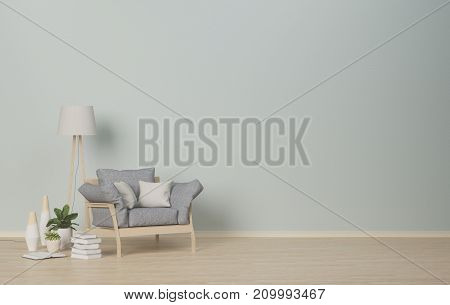poster of Interior room,armchair and lamp on empty room,vases in the living room,interior background,3D rendering