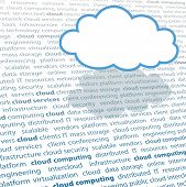 Cloud shape copy space above cloud computing IT terminology text page poster