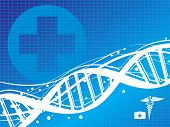 dna with medical sign vector illustration abstract background