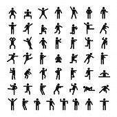 Man People Stick Icon Set, Simple Style poster