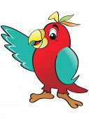 red parrot with white background, vector image