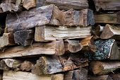 Preparation Of Firewood For The Winter. Firewood Background. Pile Of Firewood. poster