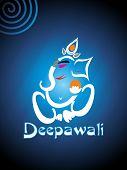 picture of ganpati  - abstract shiny blue background with ganpati for diwali - JPG