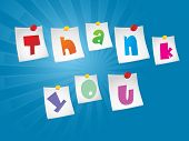 picture of thank you card  - blue rays background with thank you word notes attach with paper pin - JPG