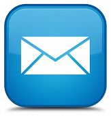 Email Icon Special Cyan Blue Square Button poster