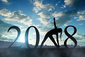 Silhouette of a girl practicing yoga in the New Year 2018. poster